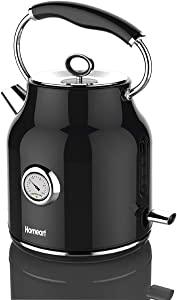 Homeart Electric Kettle, Stainless Steel, Stylish, 1.7 Liter, Black