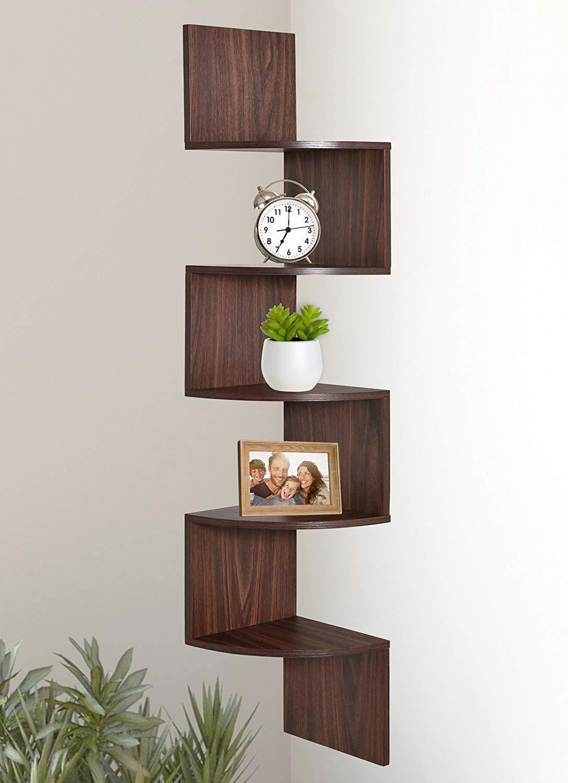 Jinguio 5 Tier Wall Mount Corner Shelves (Coffee)
