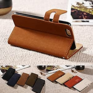 Luxury Soft Feel PU Leather Case For iPhone 6 4.7 Inch Flip Wallet Stand Design Phone Bag Cover With Card Holders 9 Colors BOB --- Color:Navy Blue Case