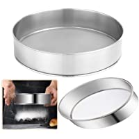 2 Pack Flour Sifter for Baking (8-Inch and 10-Inch) Stainless Steel Fine Mesh Strainers,60 Mesh Round Sifter Steel for…