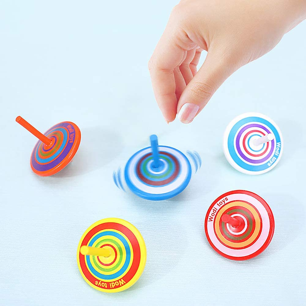 Sensory Toys for Children and Adults,Suitable for Autism Anxiety Fidget Toys Ncenglings Wooden Colorful Gyroscope Stress Relief Toys,Wooden Colorful Spinning Top Decompression Toys