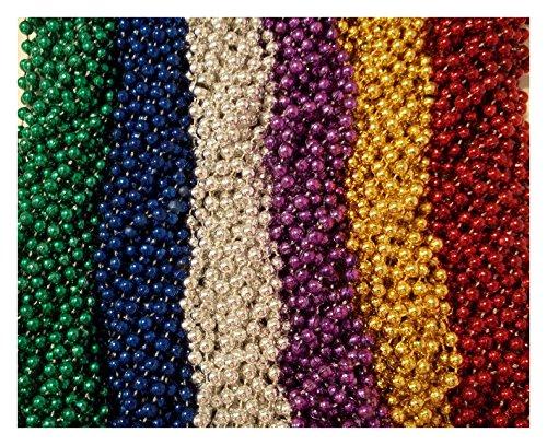 [100 Asst 6 color Mardi Gras Gra Beads Necklaces Party Favors Lot] (Jumbo Mardi Gras Beads)