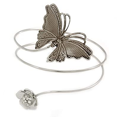 Avalaya Silver Plated Hammered Butterfly & Flower Upper Arm, Armlet Bracelet - Adjustable