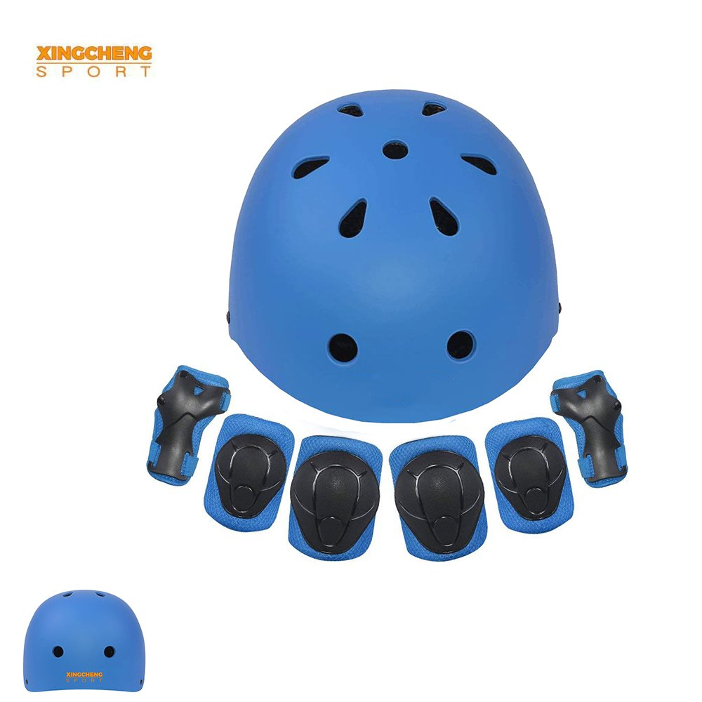 Kids Multi-Sport Helmet With Knee&Elbow Pads and Wrists 7 Pieces Kids Boys and Girls Outdoor Sports Safety Protective Gear Set for Skateboard Cycling Skate Scooter(4-8 Years Old) (Blue)