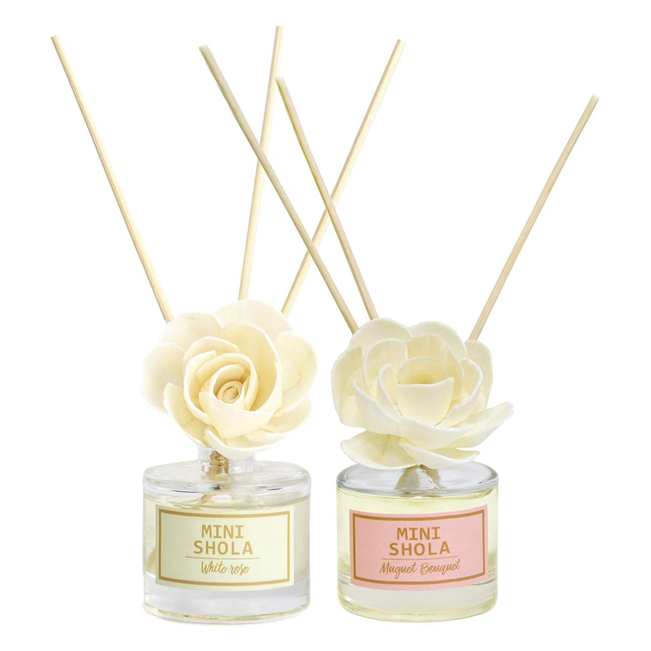 Aronica Mini Floral Diffuser 2 Pack Set - Sola Flower White Rose (40ml) + Muguet (40ml) by Aronica (Image #1)