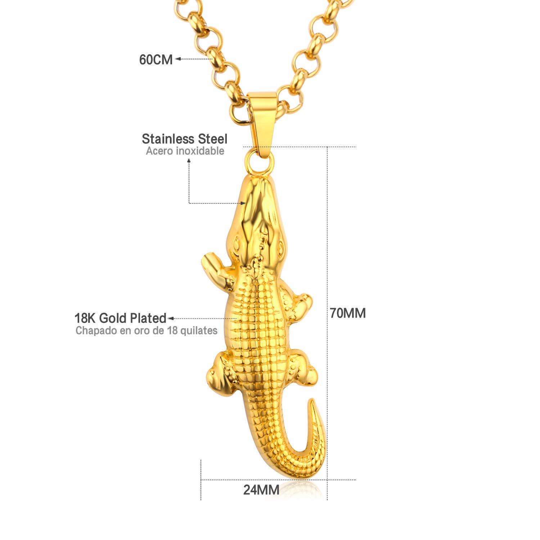 Metal Color: Silver Davitu Stainless Steel Men Necklace Animal Jewelry Wholesale Gold Color Crocodile Shape Big Statement Pendants /& Necklaces