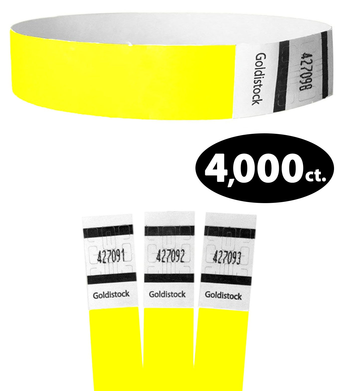 Goldistock Original Series - 3/4'' Tyvek Wristbands Horizon Neon Yellow 4,000 Count Value Pack - Event Identification Bands (Paper - Like Texture)
