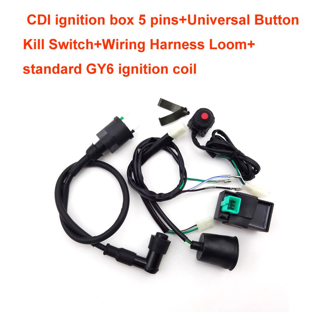 Xljoy Wiring Loom Harness Kill Switch Ignition Coil Cdi Gy6 For 50cc 160cc Pit Dirt Bike Automotive