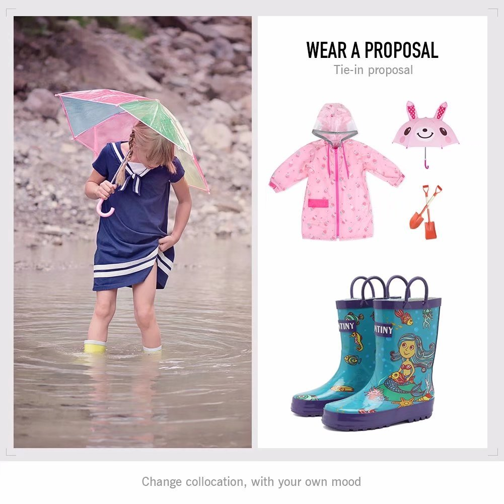 Fantiny Girls Rain Boots Durable Rubber Waterproof Shoes with Easy on Handles for Kid Toddler Boys,VHYX01,Y.Blue,21