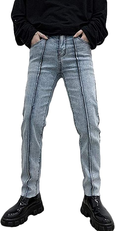 QYYジーンズ メンズ スリム スキニーパンツ デニム ロング ジーパン ストレッチ 切り替え デニムパンツ オシャレ ファッション Gパン 秋 冬 ズボン