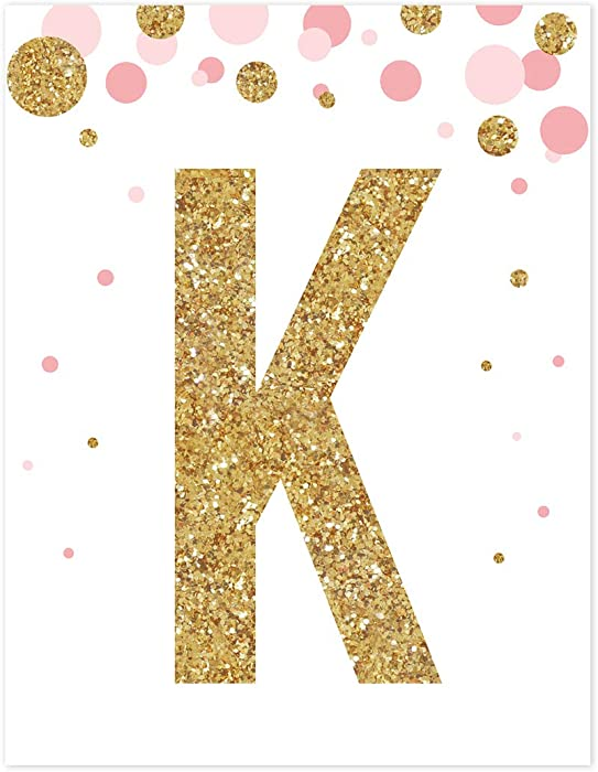 Andaz Press Nursery Wall Art Decor, Pink and Printed Gold Glitter, Letter K, 8.5x11-inch, 1-Pack, Unframed Prints Poster