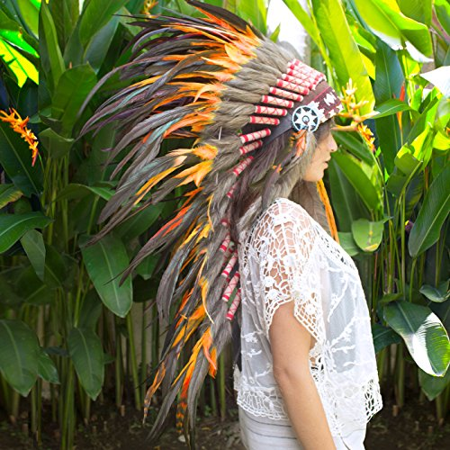 Shaman Halloween Costume (Long Feather Headdress- Native American Indian Inspired- Handmade by Artisan Halloween Costume for Men Women with Real Feathers - Orange Rooster)