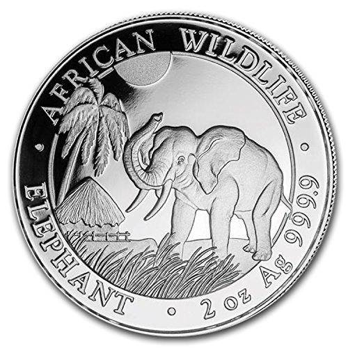 2017 DE Somalia 2 oz Silver Elephant BU Silver Brilliant Uncirculated