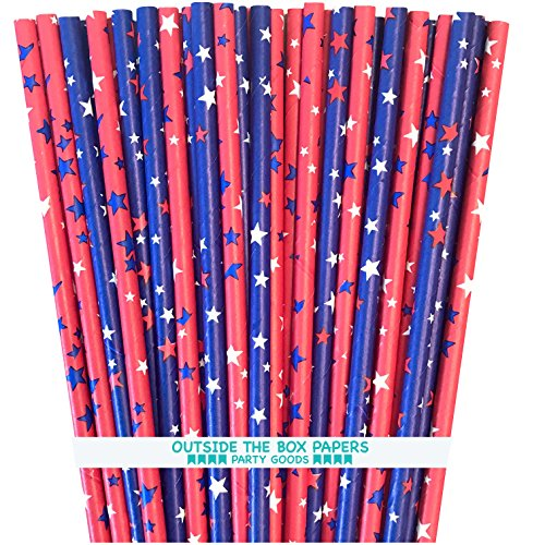 Patriotic Straw - Patriotic Theme Straws - Red White and Blue Star Theme - Paper Drinking Straws - 100 Pack