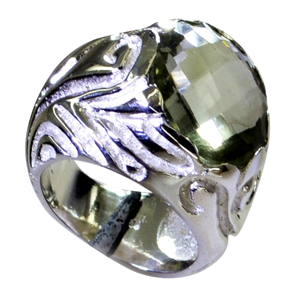 Jewelryonclick Real Green Amethyst SIiver Statement Wedding Rings For Women Size 5,6,7,8,9,10,11,12