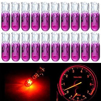 cciyu 20 Pack T5 17 86 206 Halogen Light Bulb Instrument Cluster Gauge Dash Lamp 12V (purple): Automotive