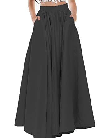Duraplast Women's Skirt Long Satin A-line Prom Skirt with Pockets ...