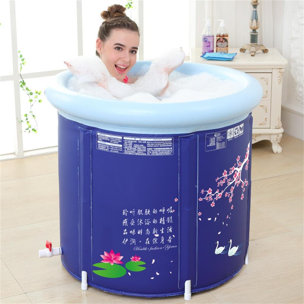 DELLT- Thicker Water Saving Bath Tub Adult Bath Tub Inflatable Tub Tubing Barrel Bath Barrels ( Color : Including lid-75*70cm )