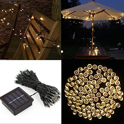 Deckey LED Solar Lichterkette Solarlichterkette, 12 Meter, 100LEDs, 1,2V, Solar Lichtschlauch, Gartenlicht, tragbar, Warmweiß mit Lichtsensor, Außenlichterkette, Weihnachtsbeleuchtung, Beleuchtung für Hochzeit, Party, Garten