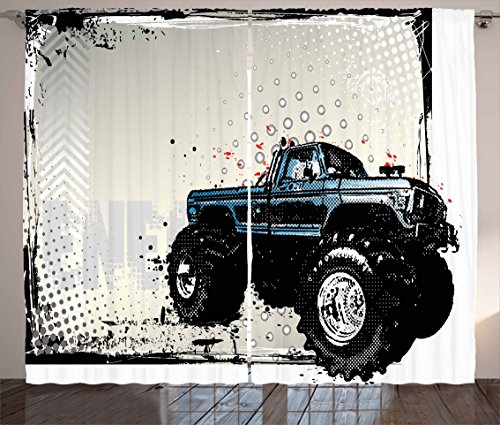 Ambesonne Truck Curtains, Halftone Pattern Background with Color Splashed Frame and Monster Truck Motif, Living Room Bedroom Window Drapes 2 Panel Set, 108 W X 63 L inches, Ivory Blue Black