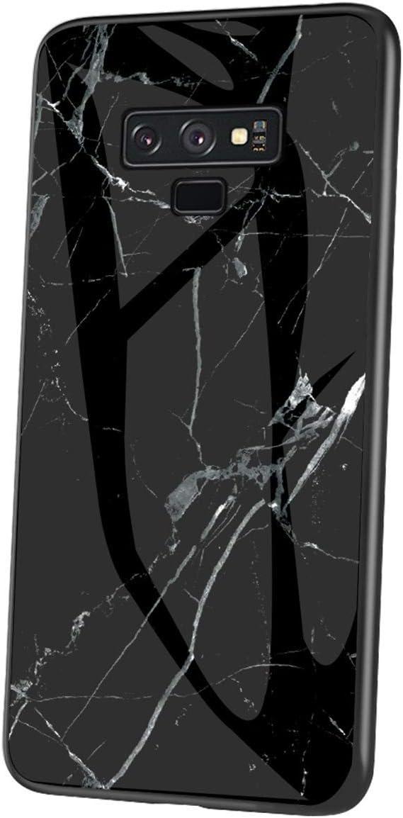 JAWSEU Kompatibel mit Xiaomi Redmi Note 7 H/ülle Marmor Muster Geh/ärtetes Glas Handyh/ülle R/ückschale mit Silikon H/ülle TPU Bumper Schutzh/ülle Sto/ßfest Glash/ülle Case Tasche f/ür Xiaomi Redmi Note 7,Gr/ün