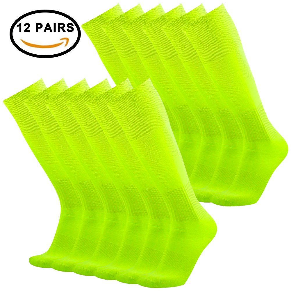 Tattooサッカーソックス、3streetユニセックスニーハイプリントチューブソックス2 / 6ペア B0778FCWY5 0008#12 Pairs Neon Yellow 0008#12 Pairs Neon Yellow