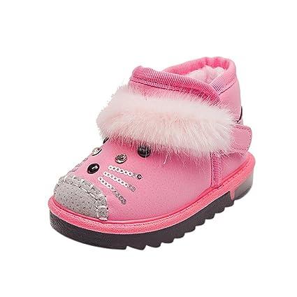 Koly Botines Unisex Niños botas velcro infantiles Niñito Dibujos animados Pelaje Calentar Baby Zapatos luminosos Sneakers