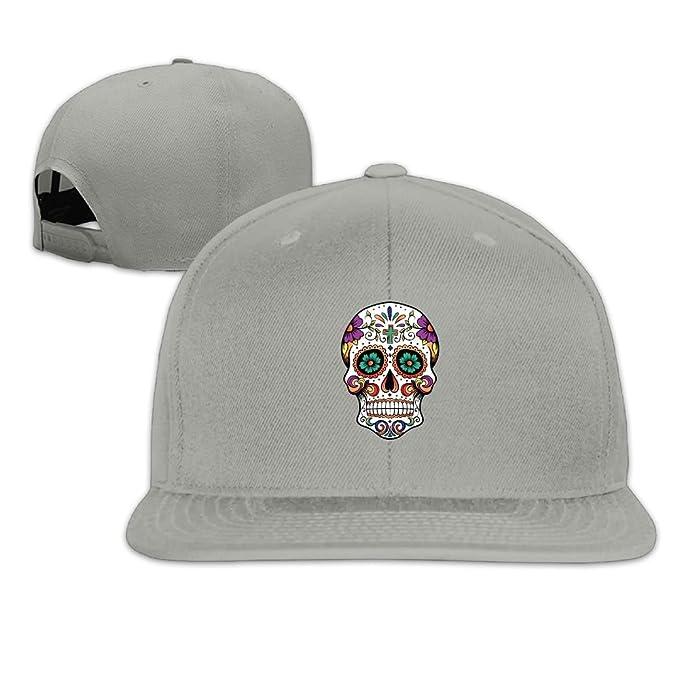 cbf24dcd326 Thirdoone Unisex Sugar Skull The Indians Art Flat Bill Baseball Cap Popular  Snapbacks Hat