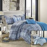 Chic Home Lynwood 6-Piece Luxury Reversible Comforter Set with Shams and Decorative Pillows, Queen Size, Printed