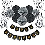 Wartoon Happy Birthday Banner Bunting with 8 Tissue Paper Pom Poms Flowers and 15 Hanging Swirl Decorations for Birthday Party Decorations (Black)