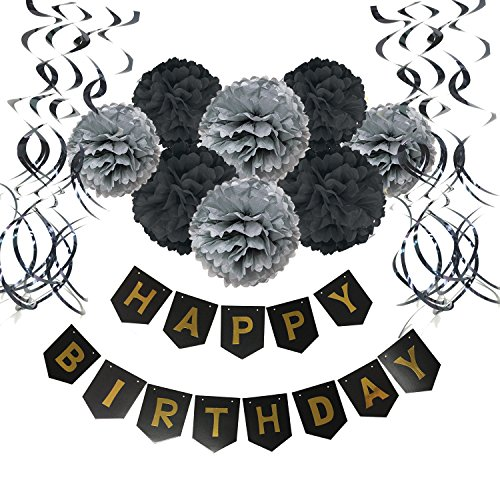 Wartoon Happy Birthday Banner Bunting with 8 Tissue Paper Pom Poms Flowers and 15 Hanging Swirl Decorations for Birthday Party Decorations - Black (Purple And Black Birthday Party)