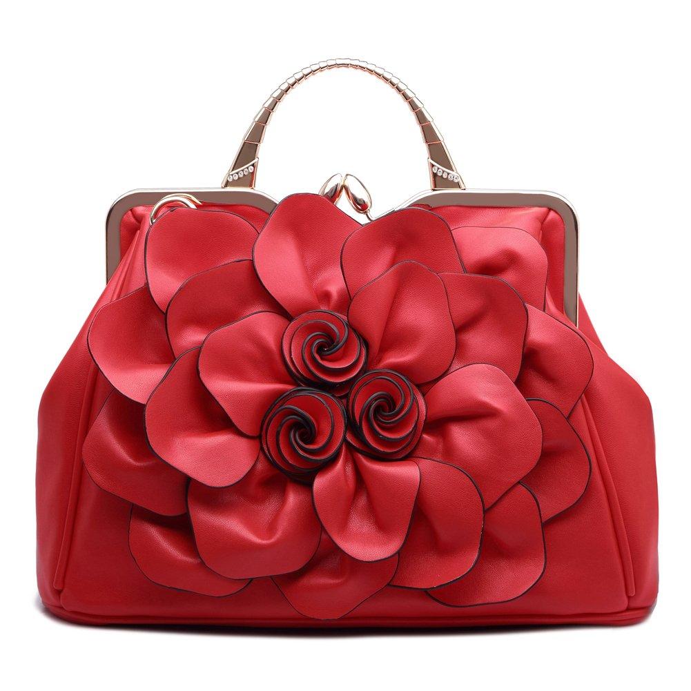 Ruiatoo Handbag for Women Flower Fashion Satchel Tote Shoulder Bags Evening/Wedding Clutch Purse Red