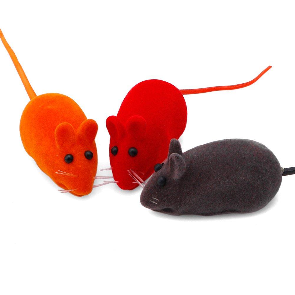 Delight eShop 5x Cute Furry Mouse Cat Kitten Play Toy False Mice Rat Squeak Noise Sound Funny