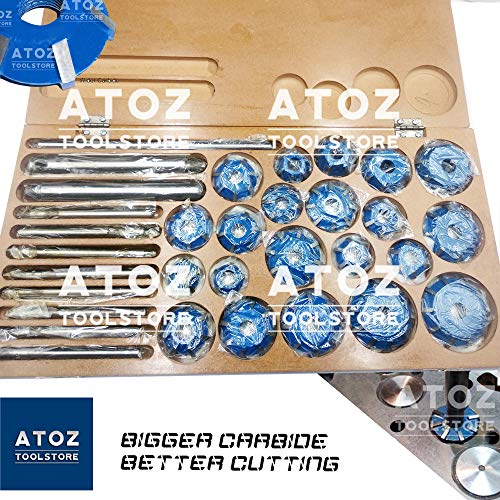 (ATOZ.Toolstore Colorful Carbide Tipped Valve Seat Face Cutters 30 45 70 (20 Bore Degree) Arbor RODS, Handles (21x Cutter Set Big Engines (4 Wheelers)))
