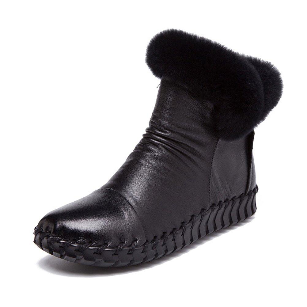 Mordenmiss Women's New Fall Winter Martin Flat Plain Toe Boots B01LXB7WRP US?7//CH38|Style 4 Black