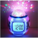 Hangang Despertador Infantil Dormir Reloj Cambio De Color Estrella Cielo Estrellas Música De Proyección Digital Reloj con Fondo Luz Nocturna Calendario Termómetro para Niños Niños
