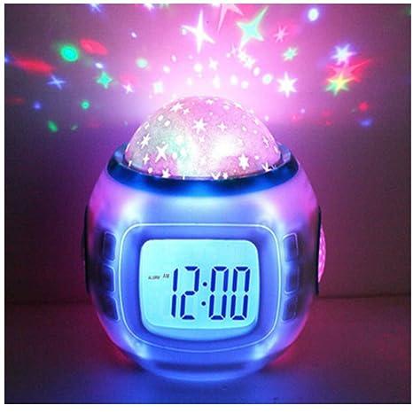Hangang Despertador Infantil Dormir Reloj Cambio De Color Estrella Cielo Estrellas Música De Proyección Digital Reloj