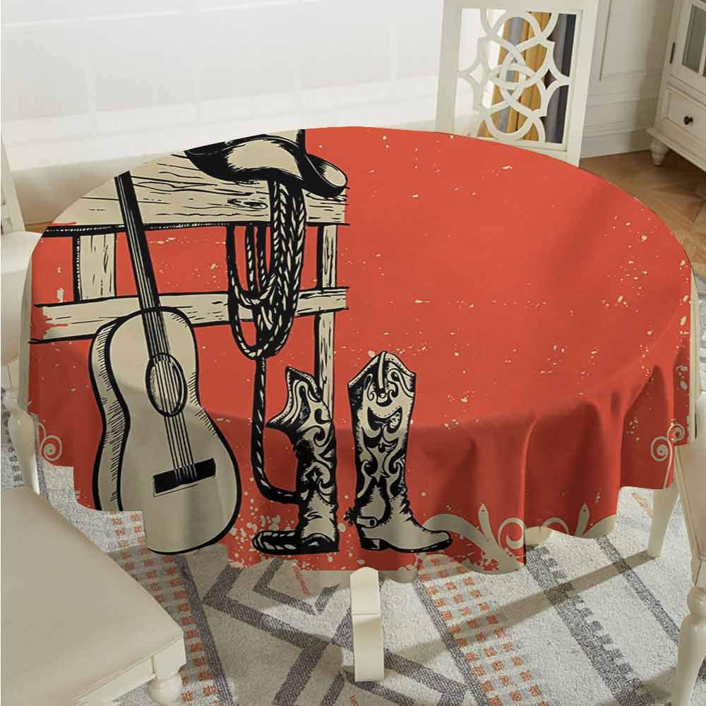 Suchashome Overlays Round Tablecloth Western Image of Wild West Elements with Country Music Guitar and Cowboy Boots Retro Art Beige Orange Fabric Tablecloth Diameter 54'' by Suchashome