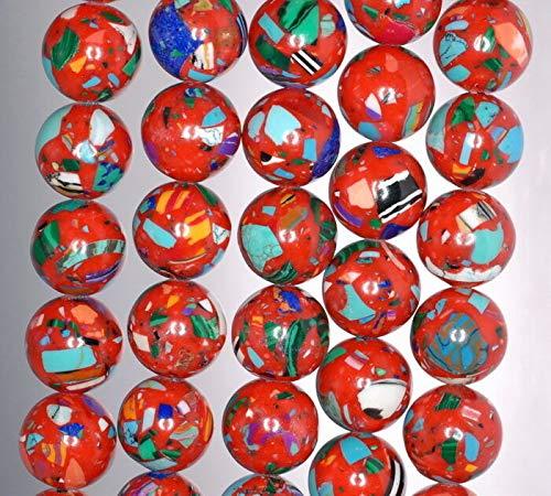 - 14MM Matrix Turquoise Gemstone RED Mosaic Round 14MM Loose Beads 15.5