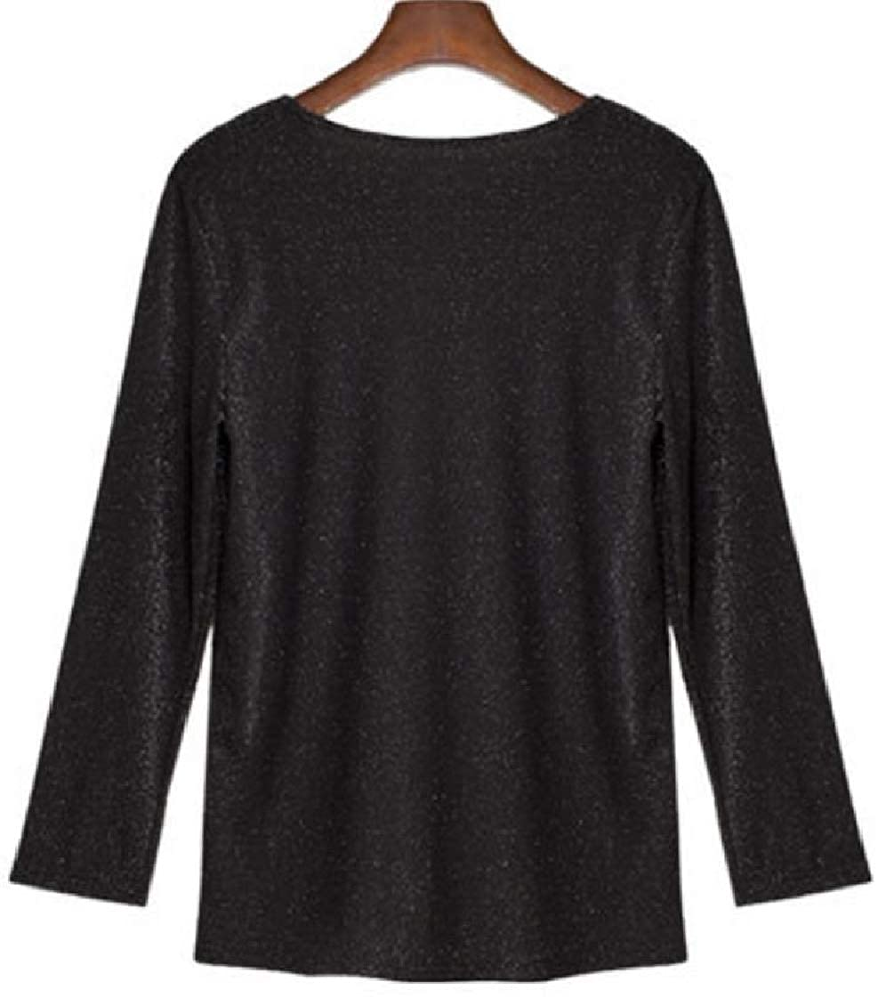 Hajotrawa Women Simple Blouse Long Sleeve See Through Patch Mesh T-Shirts