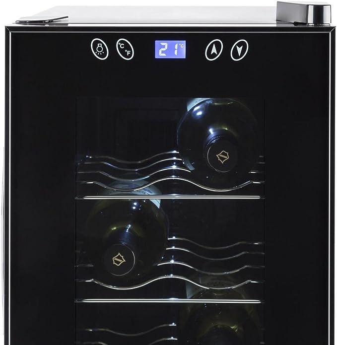 Klarstein Vinamora - Nevera para vinos, Nevera para Bebidas, Refrigerador gastronomía, 35 L, 12 Botellas, 5 Baldas de Acero Inoxidable, Iluminación LED, Módulo Independiente, Negro: Amazon.es: Grandes electrodomésticos