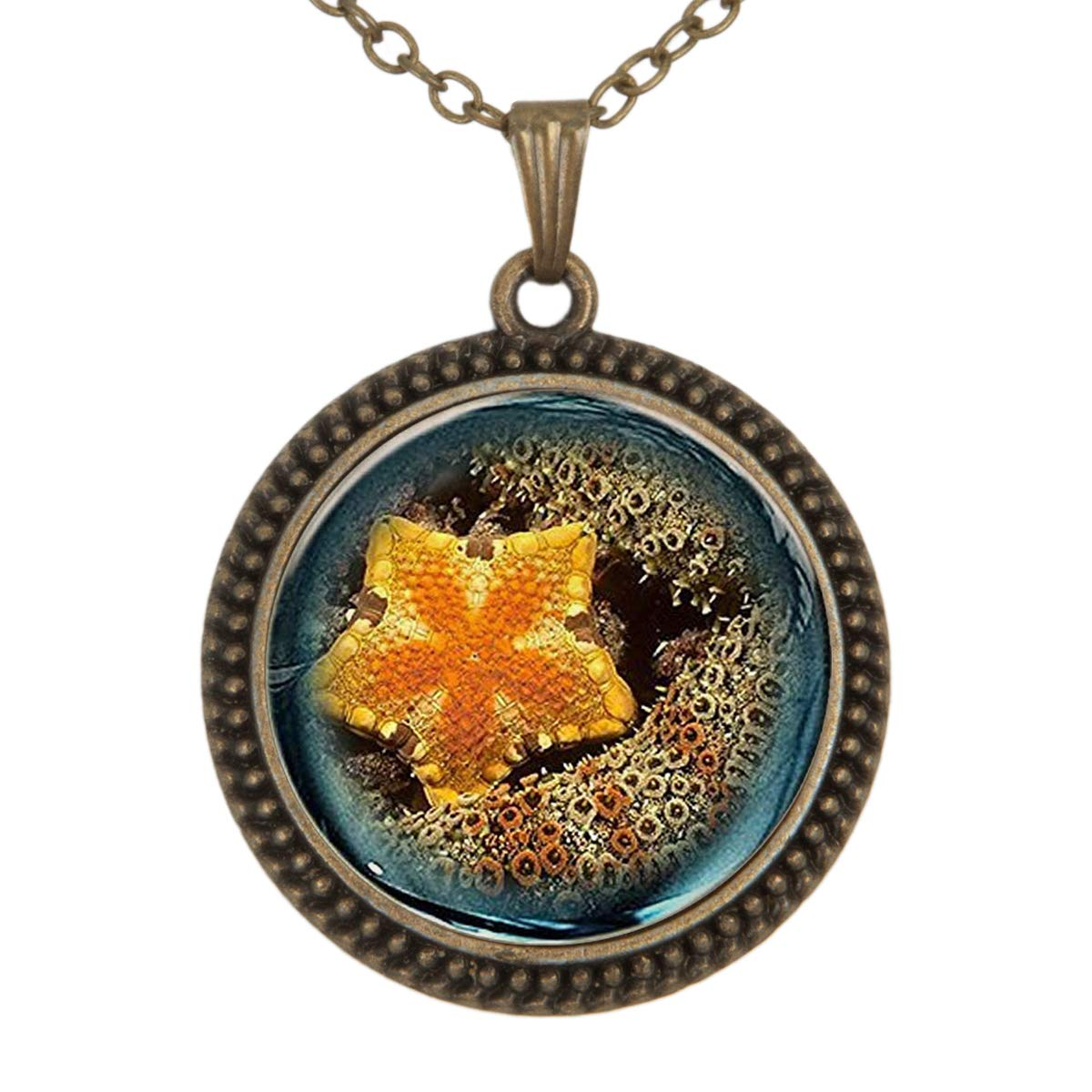 Lightrain Yellow Starfish Pendant Necklace Vintage Bronze Chain Statement Necklace Handmade Jewelry Gifts