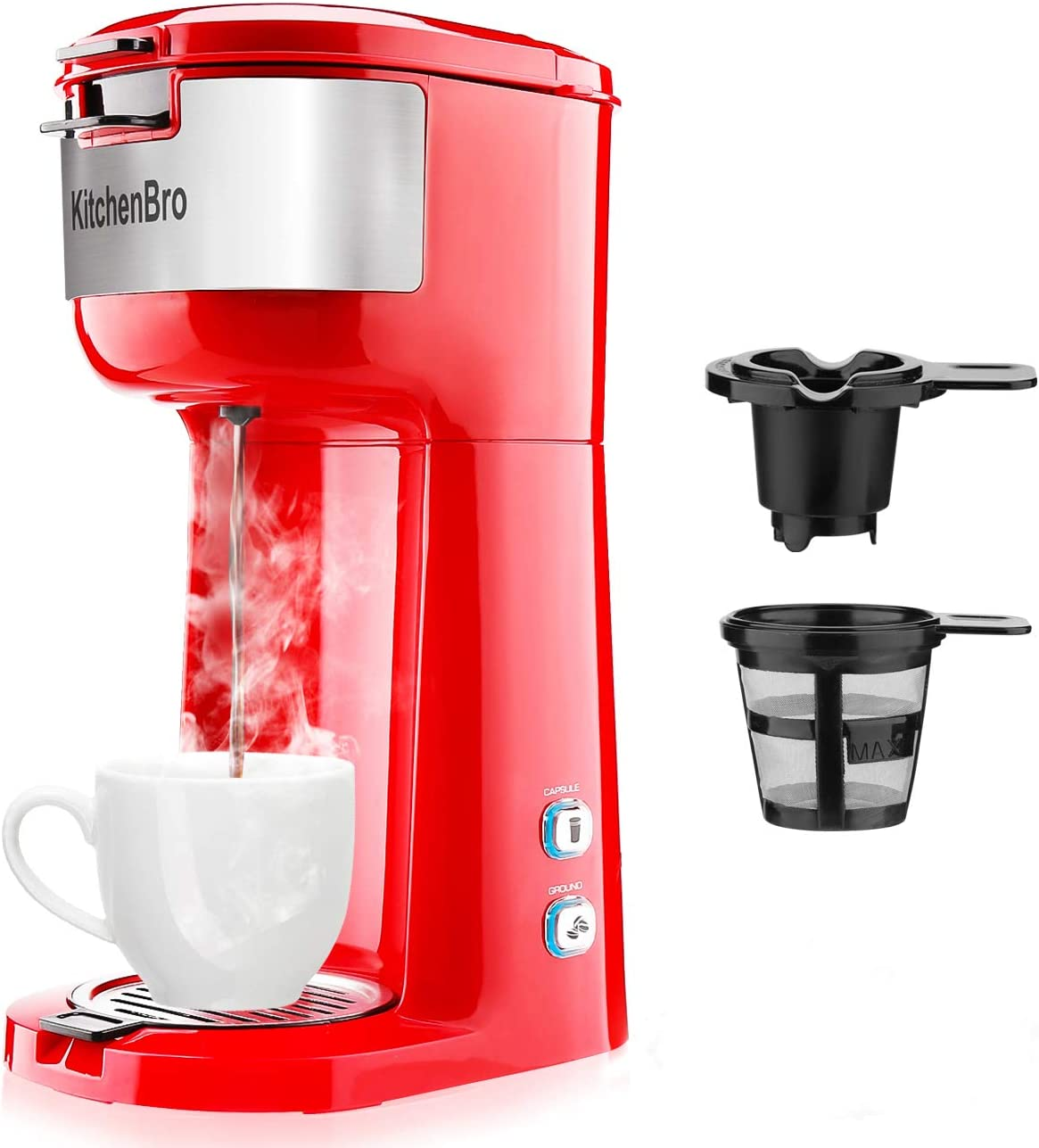 Single Serve Coffee Maker for K-Cup Pod Ground Coffee, Small Size Coffee Machine,Fast brewing,Strength Control and Self Cleaning Function by KitchenBro