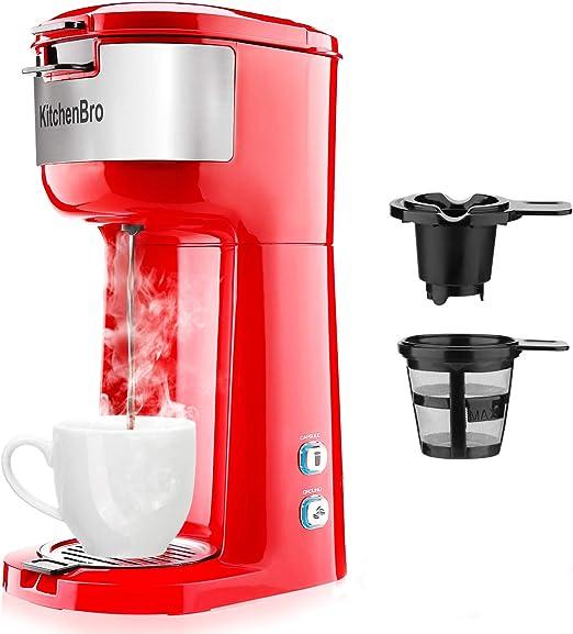 KitchenBro cafetera de una sola porción para cápsulas K-Cup y café ...