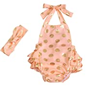 Messy Code Baby Girls Clothes Romper Onesies Gold Dot Jumpsuit One-pieces Ruffle Outfits Set Lt Peach Gold Small / 6-12Month