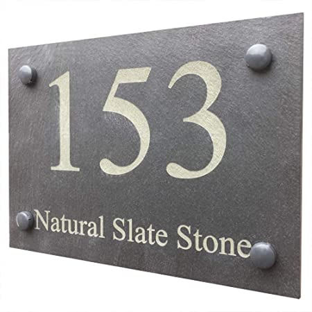 a3c20ad2b3e4 Slate House Sign Name Number Door House Sign, ENGRAVED NATURAL STONE SLATE  DOOR NUMBER STREET HOUSE NAME SIGN: Amazon.co.uk: Kitchen & Home