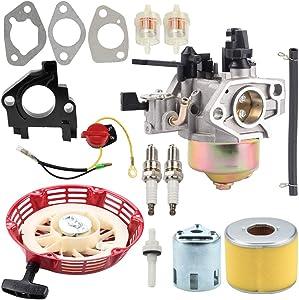 Kuupo 16100-ZF6-V01 Carburetor + 28400-ZE3-W01 Recoil Starter + 17210-ZE3-505 Air Filter Fuel Filter Line Kit for Honda GX340 GX390 GX 340 GX 390 11HP 13HP Engine Generator Pressure Washer Water Pump