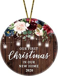 JUPPE Our First Christmas in Our New Home 2020 Ornament Mr & Mrs Newlywed Decoration Romantic Couples Gift (Brown-6)