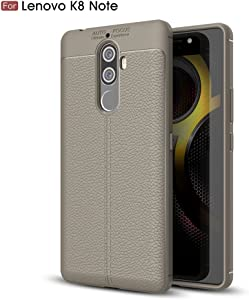 for Lenovo K8 Note Case Litchi Pattern Back Cover Ultra-Thin TPU Bumper-Gray