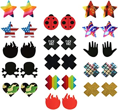 Pastie Breast Nipple Covers Pasties Rave Festival Adhesive Sticker Cross Black